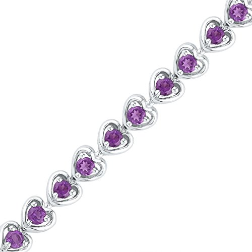 Sterling Silver Round Lab-Created Amethyst Tennis Fashion Bracelet 3-5/8 Ctw by Unknown