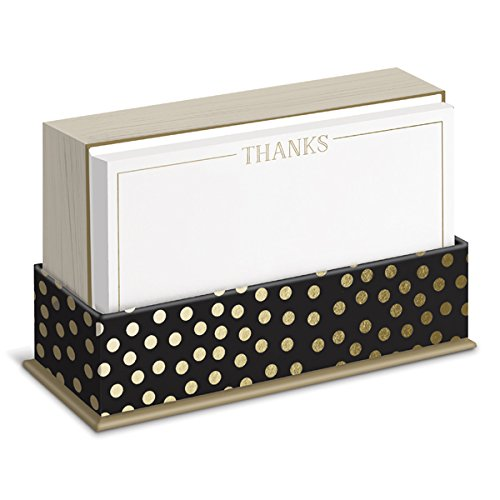 Graphique Gold Dot Flat Note Card Stationery with Gold Trim and