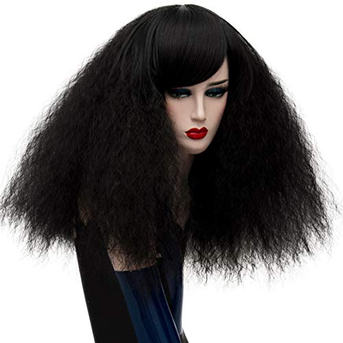 ELIM Short Curly Wigs Black Cosplay Wigs Fluffy Halloween Costume Wigs Synthetic Hair Oblique Bangs for Women with Wig Cap Z079C ()