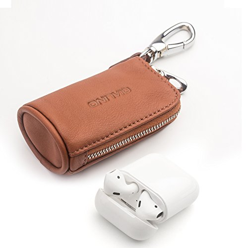 Leather AirPods Case, QIALINO Zipper Carrying Case for Apple AirPods Charging Case/ USB Cable/ Memory Cards/ Card Reader/ Flash Drives, Brown