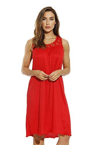 (Dreamcrest Silky Soft Nightgown Crochet Trim Sleep Dress 1541B-Red-L)
