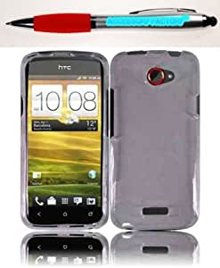 Cerhinu Accessory Factory(TM) Bundle (the item, 2in1 Stylus Point Pen) For HTC One S Transparent Cover Case - Smoke
