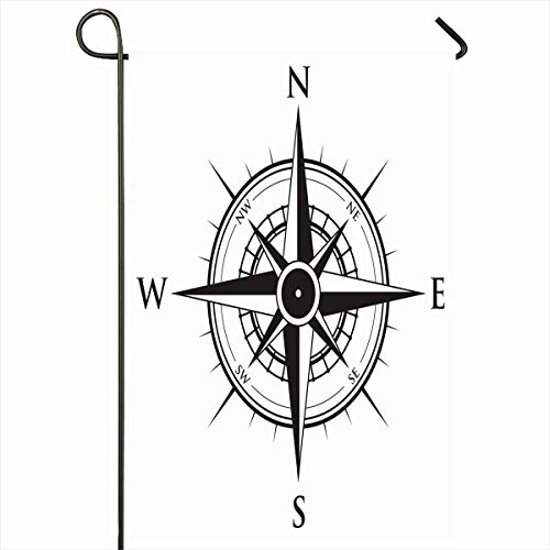 Ahawoso Outdoor Garden Flag 12x18 Inches Navigation Rose Compass Geography Star Abstract Old Direction South Design Wind Two Sides Seasonal Home Decor House Yard Sign - Sout Fabric