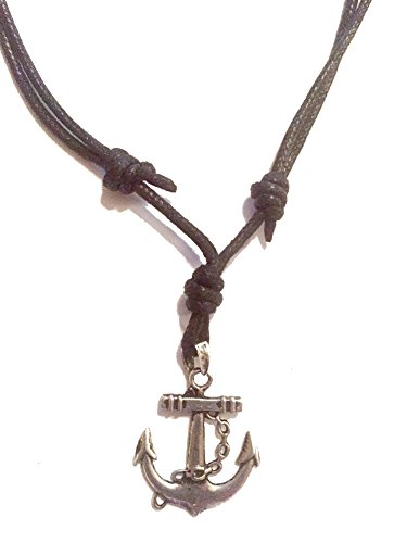 Sliding Knot Necklace - Handmade Double-Sided Anchor with Chain Pendant on Cord Necklace (with adjustable knot navy cord)