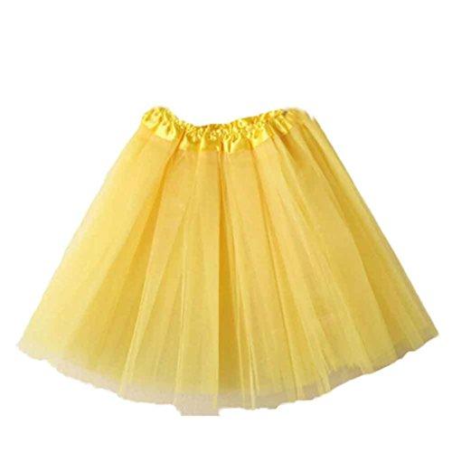 Mini Skirt Women Liraly Ballet Tutu Layered Organza Lace (Yellow)