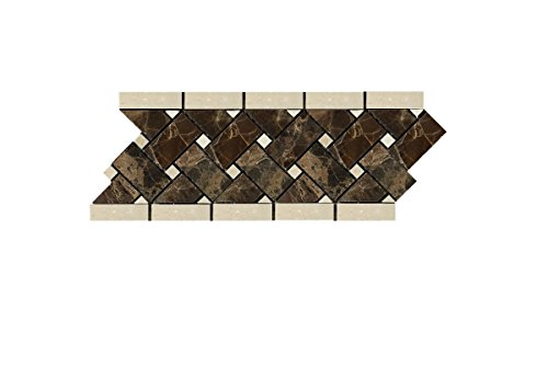 - Emperador Dark Spanish Marble Basketweave Border Mosaic Tile with Crema Marfil Marble Dots, Polished