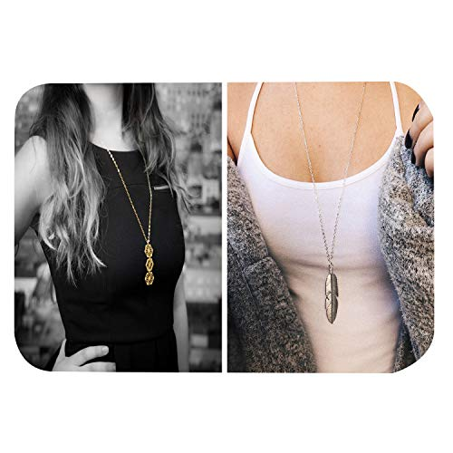 2Pcs Long Necklaces for Women Simple Disc Bar Triangle Geometirc Pendant Necklace Layered Jewelry Set (Silver Hexagon Necklace+Feather Necklace)