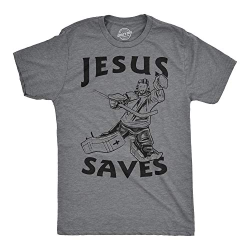 Jesus Saves Hockey Goal T Shirt Funny Religious Sport Tee (Heather Grey) - S