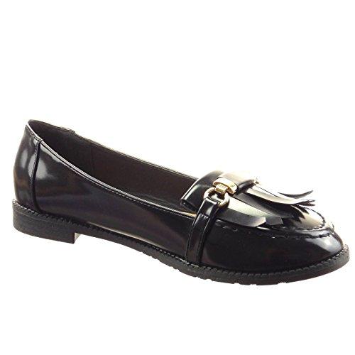 Sopily - Zapatillas de Moda Mocasines Bailarinas Tobillo mujer fleco patentes Talón Tacón ancho 2 CM - Negro