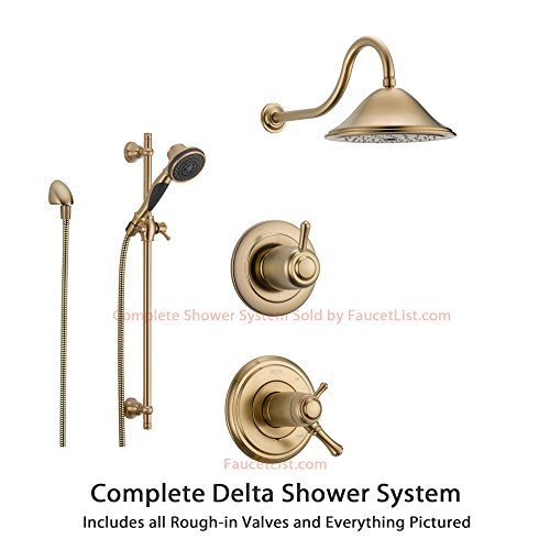 Delta Cassidy Champagne Bronze Shower System with Thermostatic Shower Handle, 3-setting Diverter, Large Rain Shower Head, and Handheld Spray SS17T9782CZ Delta Faucets