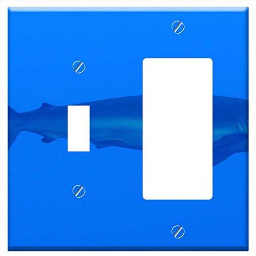 1-Toggle 1-Rocker/GFCI Combination Wall Plate Cover - Silky Shark Shark Curious Marine Life Underwa