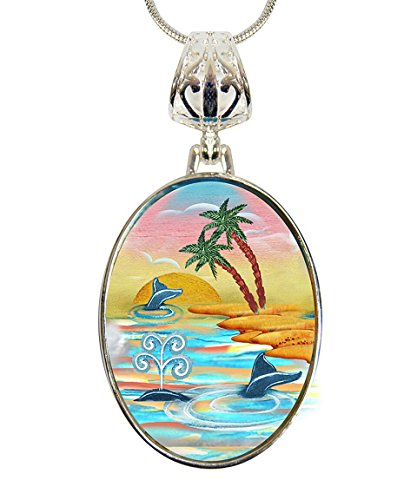 Palm Pearl Pendant (G. Debrekht Calm Palms Silver-Plated Mother-of-Pearl Cabochon Pendant, 18