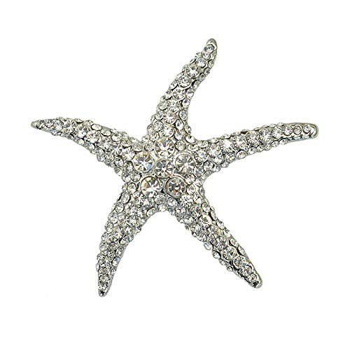 SummerTNG Women Fashionable and Refined Out Brooches, Fashion Crystal Cute Starfish Brooch Star Brooch
