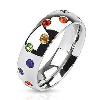 A Scattered Full Rainbow Ring - Gay & Lesbian Pride Stainless Steel Ring w/ CZ Stones. LGBT Pride - Gay and Lesbian Ring.. SIZE (10)