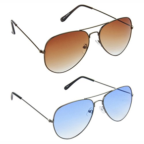 89fe59f2488b HRINKAR Aviator Brown Lens Brown Frame Sunglasses Aviator Blue Lens Grey Frame  Sunglasses – HCMB389
