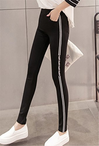 DaBag Pantalone Sportivi da Donna Nero a Righe Slim Pantaloni Ragazzi Cotone Sport felpati Pants Primavera Autunno Vita Alta Stretch Fitness Esterno