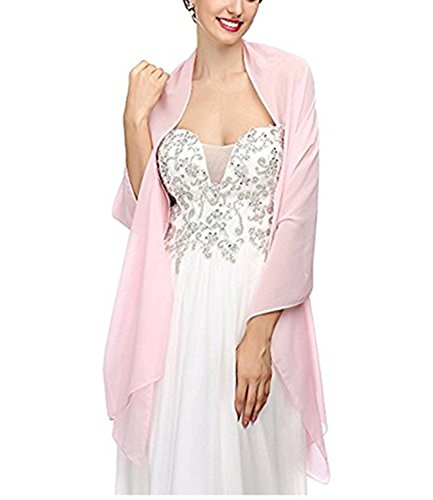macria Chiffon Bridal Wedding Shawl Wrap Women's Evening Dress Stole Scarves Pink L from macria