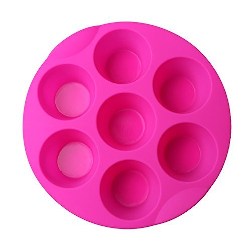 SHareling 7 Cavity Silicone Mold Muffin Pudding Mould Bakeware Round Cup Cake Pan Baking Tray(Random Color)