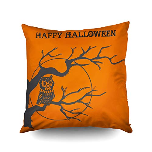 Capsceoll Vintage Halloween owl Decorative Throw Pillow Case 16X16Inch,Home Decoration Pillowcase Zippered Pillow Covers Cushion Cover with Words for Book Lover Worm Sofa Couch
