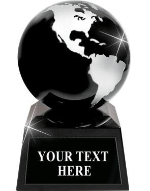 Crystal Globe Trophy - Black Glass Globe Award with Free Custom Engraving Globe Trophy Award