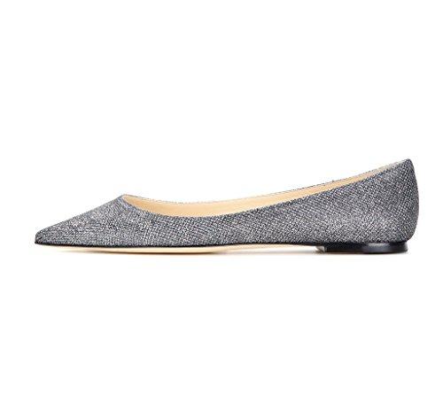 Kolnoo Toe Ballerinas Damen Flats Slipper Schuhe Gray Closed Geschlossene rRrAqg