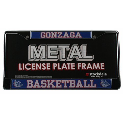 Gonzaga Bulldogs Basketball Metal License Plate Frame W Domed Insert   Zags Basketball