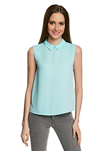 7000n sans Blouse Ultra Basique oodji Col Turquoise Manches Femme ZcSW77a