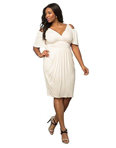 Kiyonna Women's Plus Size Tantalizing Twist Dress 3X Porcelain