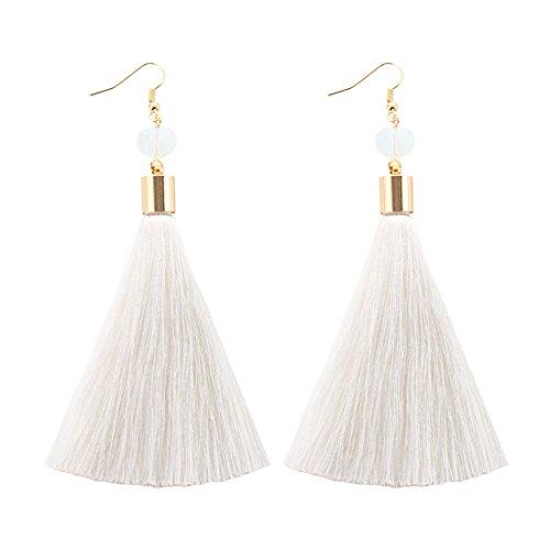 NLCAC Long Tassel Drop Earrings Dangle with Ball Hook Fringe Earring White for Women's Fashion Jewelry (Fringe Tassel Ball)