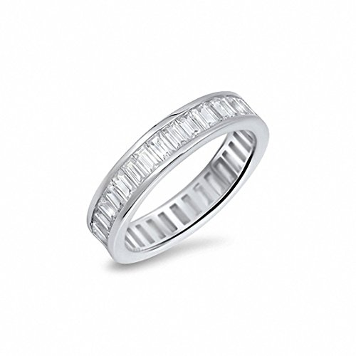 ull Eternity Simulated Baguette Cubic Zirconia Band Ring 925 Sterling Silver,Size-9 ()