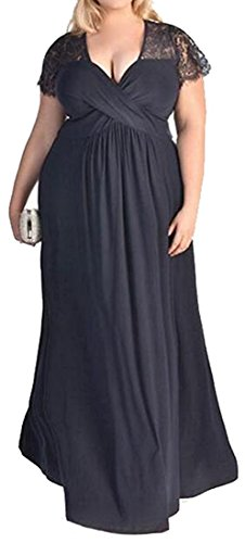 Littler Store Women Casual Deep V-Neck Short Sleeve Plus Size Party Dress BlueX-Large (Yakima Wa Stores)