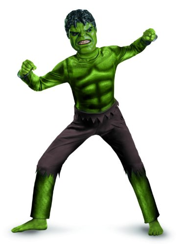 [Avengers Hulk Classic Costume, Green/Brown, Medium] (Incredible Hulk Costume Kids)