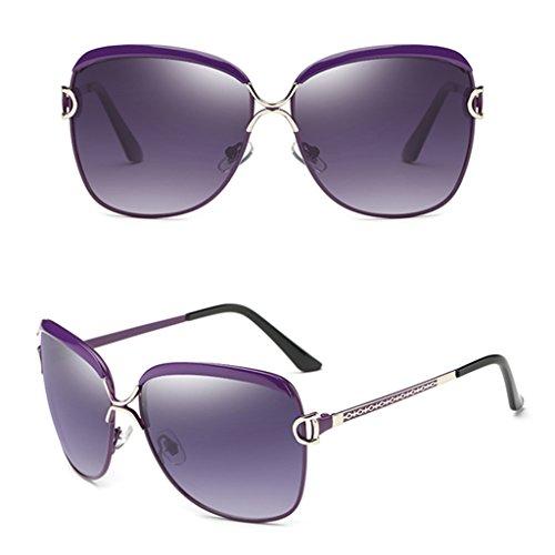 soleil Violet Lunettes de Ms Beige de Big Lunettes soleil Polarizer Frame Mode Couleur Lunettes wrqfYOra