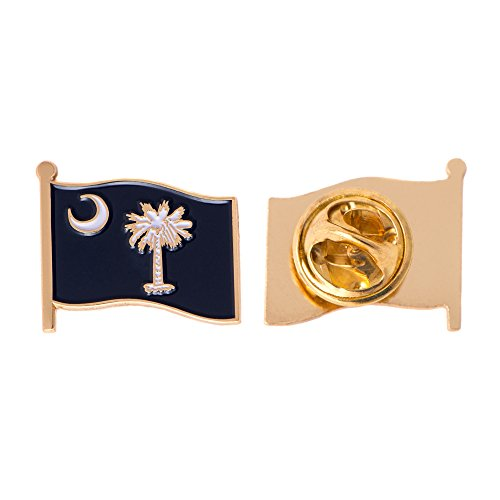 (South Carolina SC State Flag Lapel Pin Enamel Made of Metal Souvenir Hat Men Women Patriotic (Waving Flag Lapel Pin))