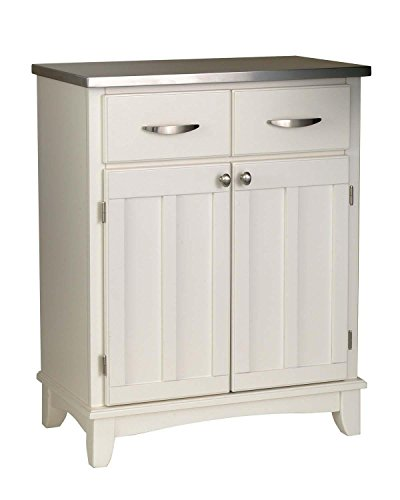 White Buffet with Stainless Top White 35.5 H x 29.25 W x 16.5 D