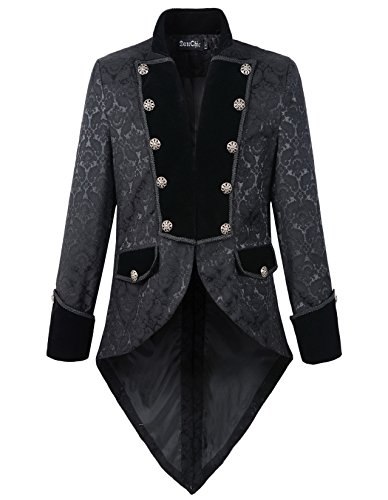 DarcChic Mens Steampunk Tailcoat Jacket Velvet Gothic VTG Victorian (XL, Brocade)