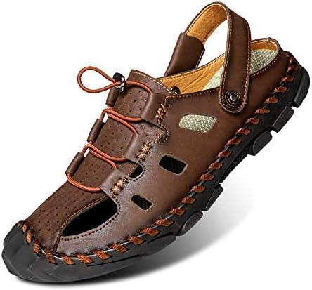 Sandalias y pantuflas para hombres, zapatos de playa antideslizantes de cuero para hombres, sandalias casuales de piel de vaca-Negro 1668-2_47