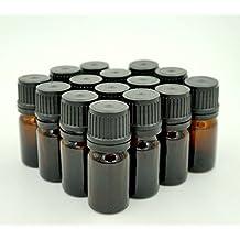 SUNREEK™5 Ml Amber Glass Bottle W/euro Dropper. Black Cap. 15 Pack
