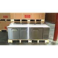 93 3 Door Refrigerated Pizza Sandwich Prep Station Table MPF-8203, 26 Cubic Feet, Poly Cutting Board and Pans Included