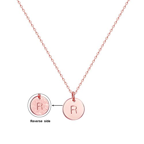Befettly Initial Necklace Pendant 14K Rose