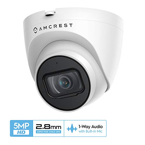 🥇 Amcrest 5MP UltraHD Outdoor Security IP Turret PoE Camera with Mic/Audio
