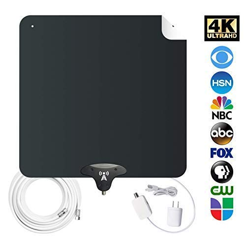 NoCable 50 - Indoor Amplified HDTV Antenna   30-50 Mile Range, 12 Foot Cable, Free TV for Life, Reversible and Ultra-Flat, Digital Antenna & Signal Boosting Amplifier. Easy Install