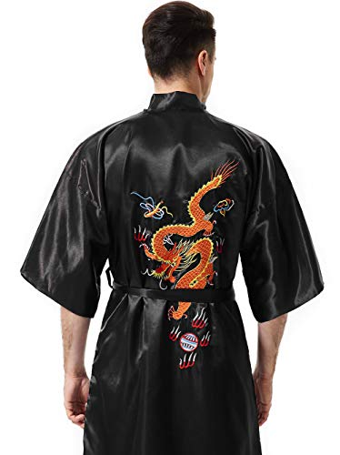 (MORCOE Men's Chinese Dragon Embroidered Satin Kimono Yukata Long Robe Soft Loungewear Nightgown Pajamas with Pockets Gift (Style1 Black(one-Side wear)))