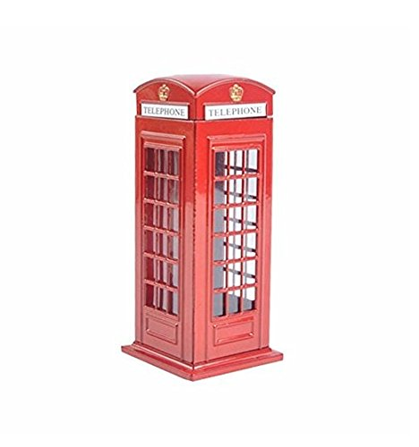BeeSpring Delicate Britain Metal Alloy Money Coin Spare Change Piggy London Street Red Telephone Booth Bank Souvenir Model Box Jar Piggy Bank Red Phone Booth Box Moneybox-6
