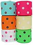 Hipgirl 1.5'' Grosgrain Fabric Ribbon Set For Gift Package Wrapping, Hair Bow Clip Accessory Making, Crafting, Sewing, Boy Girl Baby Shower-(6x5yd Bright Polka Dot, Summer)-Color May Vary