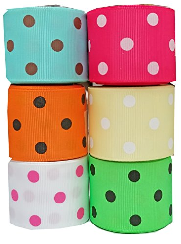 Hipgirl 1.5'' Grosgrain Fabric Ribbon Set For Gift Package Wrapping, Hair Bow Clip Accessory Making, Crafting, Sewing, Boy Girl Baby Shower-(6x5yd Bright Polka Dot, Summer)-Color May Vary by HipGirl