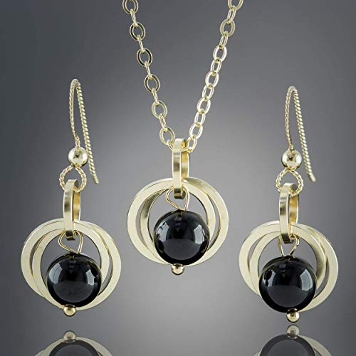 Black Onyx Gemstone Jewelry Gift Set with 14K Gold Fill Dangle Earrings and Pendant Necklace - 20