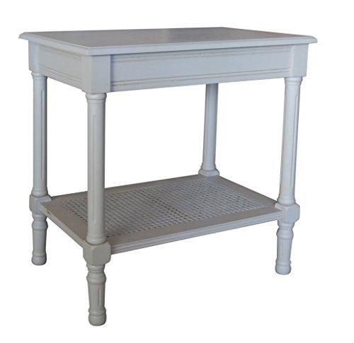 Rattan Vintage (Urbanest Jamestown Side Table with Rattan Shelf, Vintage Grey)