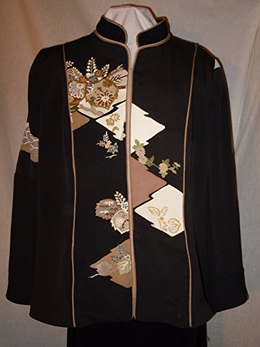 Black silk jacket from vintage kimono, with gold hand dyed motifs and embroidery, size large. One of a Kind #F20 by First Fruits Apparel