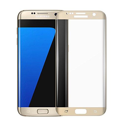 Galaxy S7 Edge Premium Glass Screen Protector [Gold], VRURC [No Halo Effects] [Bubble Free] [Edge to Edge] [Full Screen Coverage] Tempered Glass Screen Protector for Samsung Galaxy S7 Edge
